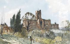 Edward Wesson (1910 — 1983, UK) Guildford Cathedral. watercolour. 31 x 48.5 cm. (12¼ x 19 in.)