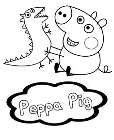 Bubakids Peppa Pig With T-rex Dinosaurs for preschool, kindergarten and elementary school children to print and color. Cartoon Coloring Pages, Animal Coloring Pages, Coloring Book Pages, Coloring Sheets, Peppa Pig Wallpaper, Dinosaur Wallpaper, Dinosaur Printables, Pig Pig, Dinosaur Coloring