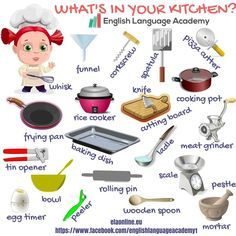 What's in your kitchen? #ESL #EFL #vocabulary #english #kitchenware #elementary #intermediate#anglictina
