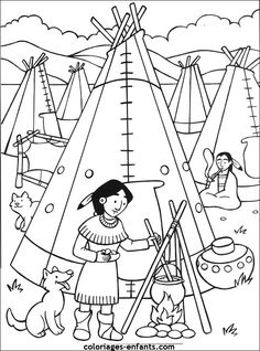 Les coloriages d'indiens Indian Diy, Indian Crafts, Thanksgiving Coloring Pages, Thanksgiving Preschool, Coloring Sheets For Kids, Coloring Book Pages, Native American Crafts, Native American Indians, Plains Indians