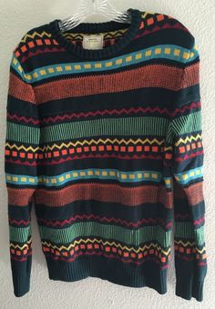 Urban Outfitters Sweaters For All My Friends SZ M Striped Geometric L/S Sweater #SweatersForAllMyFriends #Crewneck