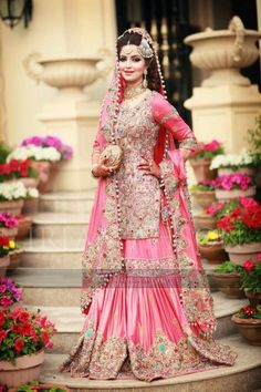 Latest Wedding Bridal Sharara Designs & Trends Collection consists of Top Pakistani & Indian Designer fancy embroidered sharara dresses! Pakistani Wedding Dresses, Pakistani Outfits, Indian Dresses, Sharara Designs, Desi Bride, Pakistan Bride, Desi Wedding Dresses, Walima Dress, Bridal Outfits