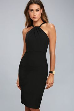 We're definitely falling for the Be My Baby Black Bodycon Midi Dress! Medium-weight woven poly hugs your curves in all the right places as it shapes a looping halter neckline and sleeveless, darted bodice. Midi skirt with back kick pleat. Hidden back zipper/clasp.