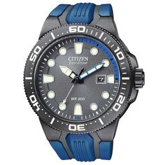 Citizen BN0097-02H Men's Eco-Drive Scuba Fin Grey Dial Black Accents Blue Rubber Strap Dive Watch
