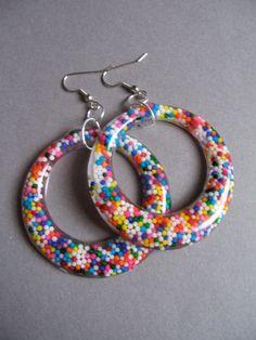 Resin Hoop Earrings Resin Jewelry Rainbow Vintage by VivaceCrafts