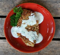 Buttermilk Pecan Chicken with Herb Cream Gravy -- this sounds delicious! Wish my husband wasn't allergic to nuts :-/