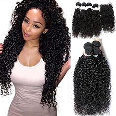 Passion Beauty Malaysian Virgin Remy Human Hair Extension Weave 4 Bundles With Closure  Natural BlackKinky Curly AFRO 1012141610closure *** You can get additional details at the image link.