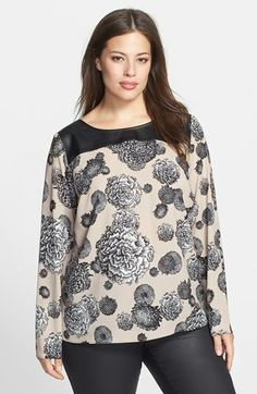 DKNYC Faux Leather Detail Print Crepe Blouse (Plus Size) available at #Nordstrom