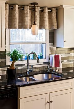 Top curtain idea for kitchen by Jim Schmid Photography
