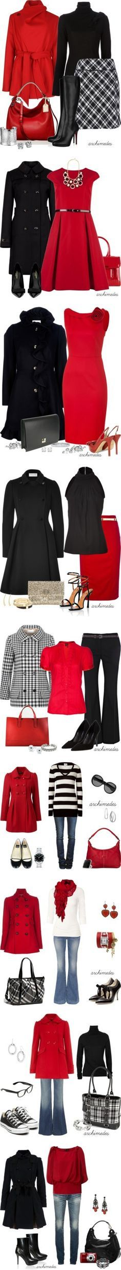 """Red and Black"" by archimedes16 on Polyvore. One thing I particularly love about these outfits is that the shoes are not all hooker shoes."
