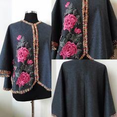 Gray  Cape Coat    Cashmere Cloak  Floral Embellished Jacket Plus size design Women's Clothing  Boho Outerwear by HandmadebyNadya on Etsy