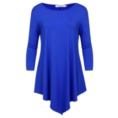 Womens 3/4 Sleeve Round Neck Solid Color Plus Size Tunic Top