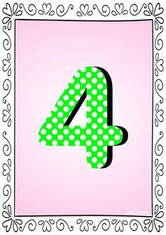 Numerais de Poá colorido com bordas 4