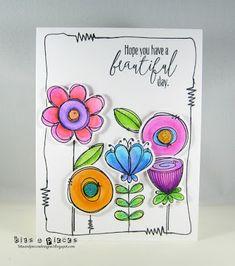 Addicted to CAS: Challenge – Doodle - Kaarten Maken Cute Cards, Diy Cards, Hand Drawn Cards, Watercolor Cards, Watercolor Flowers, Watercolour, Watercolor Portraits, Watercolor Landscape, Flower Doodles