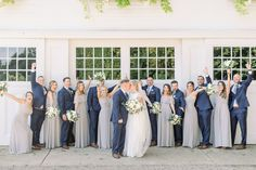 Candid wedding party photo, Navy groomsmen and gray blue bridesmaids in Bill Levkoff dresses from Cristina's Bridal, Coastal NH wedding at Abenaqui Country Club and Fuller Gardens in Rye Gray And Navy Blue Wedding, Blue Grey Weddings, Navy Wedding Colors, Taupe Wedding, Gothic Wedding, Beige Bridesmaids, Neutral Bridesmaid Dresses, Bridesmaid Ideas, Wedding Party Shirts