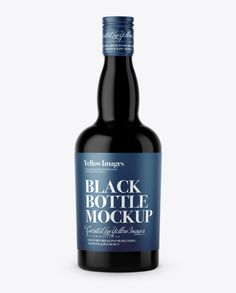 Black Glass Liquor Bottle Mockup - Front View. Preview