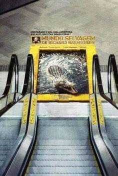 """Нестандартная реклама канала National Georgraphic Впечатляющая реклама от National Geographic отличается очень реалистичным 3D-изображением крокодила. Оптическая иллюзия выглядит так, как будто зубастый зверь готов выпрыгнуть из воды и проглотить пассажиров, спускающихся вниз по эскалатору в одном из торговых центров Бразилии. Это часть кампании по «Mundo Salvagem de Richard Rasmussen», которая переводится как: """"Готов к приключениям в бразильских лесах? Дикий мир с Ричардом Расмуссеном»."""