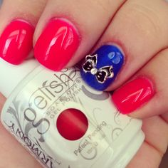Gelish Hot Pink and Blue Nails with 3D Nail Design #Nails #3DNails #Beauty