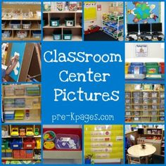 preschool classroom center pictures - have a save spot with a shelf for calming down tools Pictures and ideas for setting up learning centers in a pre-k preschool or kindergarten classroom. Photos of each center with detailed descriptions. Preschool Classroom Centers, Preschool Rooms, Kindergarten Centers, Kindergarten Listening Center, Block Center Preschool, Literacy Centers, Preschool Ideas, Classroom Organisation, Classroom Management
