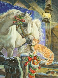 All your favourite things. Horses, Cats, Christmas and Snow.... :)