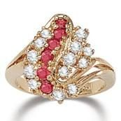 Genuine Ruby Gemstones & 14k Gold Plated CZ Cluster Ring - Size 10 $34.99
