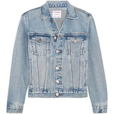FRAME Rigid Re-Release denim jacket ($400) ❤ liked on Polyvore featuring outerwear, jackets, light denim, blue jean jacket, slim fit jean jacket, slim fit denim jacket, retro denim jacket and button jacket
