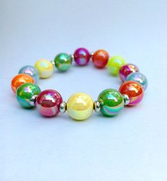 MultiColored Beaded Stretch Bracelet Colorful by BalmDesigns