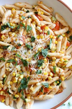 I love this quick, summer pasta dish made with homemade Cavatelli pasta, cherry tomatoes, zucchini, corn and marinara.