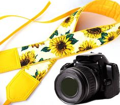Yellow camera strap. Sunflowers Camera strap. Flowers by InTePro