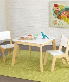 KidKraft Natural & White Modern Three-Piece Table Set