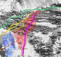 It is said that Mallory was so severely injured in his fall that when he reached the bottom of the Yellow Band, he could no longer walk.  The green line is the modern route.  Anyone exiting the Yellow Band in the area of the red shading and then glissading (or falling) down would be funneled to where Mallory was found (red dot).