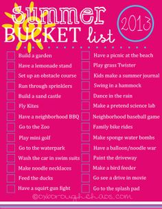 summer bucket list for kids | ... lets be realistic here...4 kids all wanting to do different things