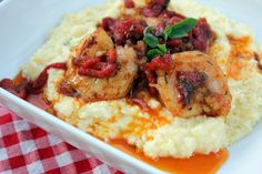 Shrimp and goat cheese grits from Tupelo Honey Cafe in Asheville,NC. Best recipe hands down.I used lemon goat cheese,lemon zest and added the rest of the seasoning mix to the grits as well as a little bit of grated Parmesan. Seafood Dishes, Seafood Recipes, Dinner Recipes, Cooking Recipes, Brunch Recipes, Dinner Ideas, Honey Shrimp, Spicy Shrimp, Honey Cafe