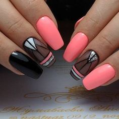 Use a light pink or nude on the nail with the design to brighten it up. Cute Acrylic Nails, Acrylic Nail Designs, Nail Art Designs, Perfect Nails, Gorgeous Nails, Pretty Nails, Hot Nails, Pink Nails, Gradiant Nails
