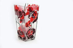 Valentines Day Gift Hand Painted Glass Vase Glass Candle Holder Flower Botanical Abstract Red Poppies Modern  Home Decor. $170.00, via Etsy.