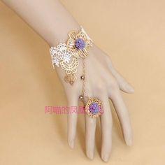 Elegant Flower & Butterfly Shape Design Women's Lace Bracelet With Ring Kawaii Jewelry, Kawaii Accessories, Jewelry Accessories, Fashion Accessories, Jewelry Design, Hand Jewelry, Cute Jewelry, Fashion Bracelets, Fashion Jewelry