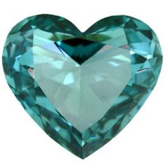 Aqua Blue or Turquoise Jewel Heart