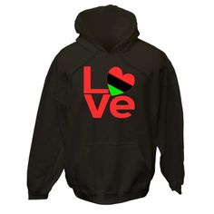 "Red letters form the word ""LOVE"" with the ""O"" created using a heart shaped Flag of the African Diaspora or African American Flag. Wonderful for sharing your love and pride in your ethnic heritage, culture and ancestry at Valentine's Day. Terrific for celebrating Black History Month and Juneteenth. Great gift for Kwanzaa, too. $75.99 ink.flagnation.com Looks great on this black hoodie. Design by @Auntie Shoe."