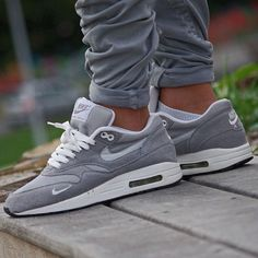 Great pair of Air Max 1's> Nicely designed with a nice deep grey colour. Trousers go well with kicks too.