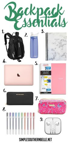 Backpack essentials for college or high school!