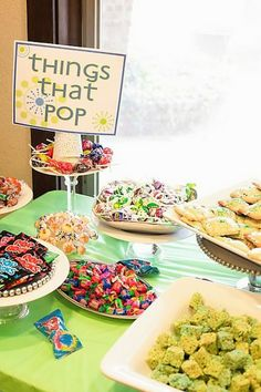 """Things that Pop"" baby shower.  So super cute.  The mommy is about to pop, so they served a popcorn bar and all other ""pop"" foods and candy."