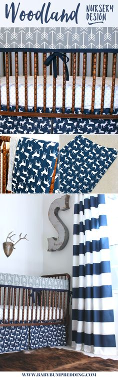 Deer baby bedding. Woodlands adventure themed nursery. WOODn't your baby just love this crib bedding? Arrows combine with deer silhouette fabric to create a woodland baby boy nursery that is manly as can be. The hunt (for baby bedding) is over.