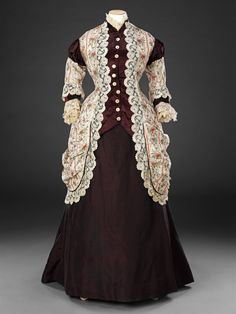 """fripperiesandfobs:  """" Dress, late 1870′s  From the John Bright Historic Costume Collection  """""""