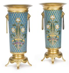 Ferdinand Barbedienne French, 1810-1892 A pair of gilt bronze and cloisonné enamel vases Paris, late 19th century each inscribed PURITAS and engraved F. BARBEDIENNE height 12 in.