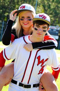 Cute couple pictures. Boyfriend girlfriend photography. Baseball- boy cheerleader- girl