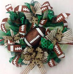 Generic Football Wreath with Glittered Football by Katskraftymeow