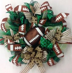 Generic Football Wreath with Glittered Football by Katskraftymeow