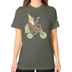 Birthday Sloth Unisex T-Shirt (on woman)