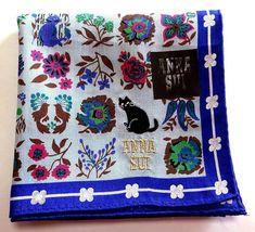ANNA SUI Handkerchief scarf bandana hanky Cotton Blue Auth New Collectible #AnnaSui #DesignerArtist