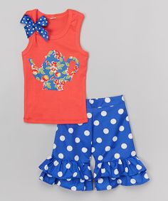 This Coral Teapot Tank & Royal Ruffle Shorts - Infant, Toddler & Girls is perfect! #zulilyfinds